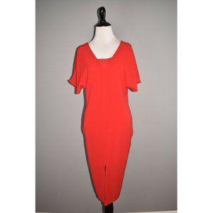 BOBEAU NEW Stretch Crepe V Neck Dress